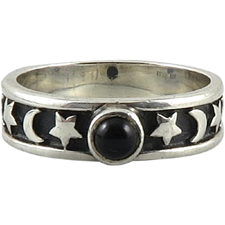 Moon and Stars Onyx and Sterling Silver Ring by BOMA