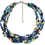 5 Strand Mixed Glass Bead Necklace