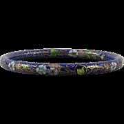 Deep Blue Chinese Cloisonne Enamel Bangle Bracelet