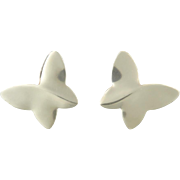 Modernist Design Butterfly Sterling Silver Earrings
