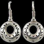 Vintage Taxco Shadow Box Hoop Dangle Sterling Silver Earrings