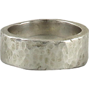Thick Sterling Band Ring with Hammered Finish