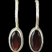 Red Garnet and Sterling Silver Earrings