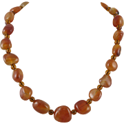 Carnelian Agate and Amber Color Glass Bead Necklace