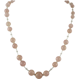Rose Quartz and Pink Glass Bead Necklace 14K White Gold Fill Clasp