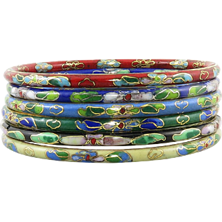 Set of 6 Cloisonne Enamel Multi Color Bangle Bracelets