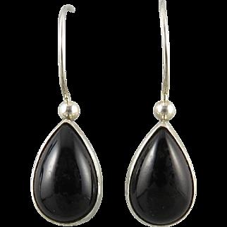 Black Onyx Sterling Silver Teardrop Earrings