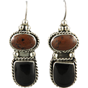 Red Jasper and Black Onyx Large Sterling Silver Earrings