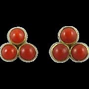 Chinese Export Red Salmon Coral Sterling Vermeil Stud Earrings