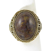 Chinese Export Pietersite and Gilded Silver Filigree Ring