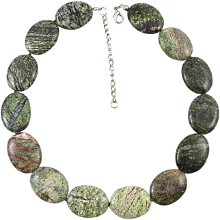 Flat Oval Green Jasper Bead Necklace