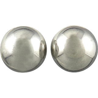 Sterling Silver Button Style Clip Back Earrings