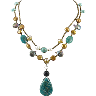 Amazonite, Glass and Cultured Enhanced Color Coin Pearl Necklace