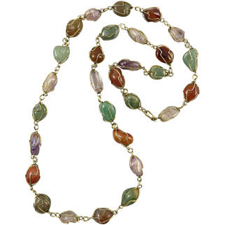 Mixed Gemstone Caged Bead Necklace