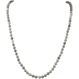 Light Gray Crazy Lace Agate Bead Strand Necklace