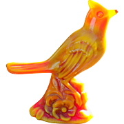 Slag glass cardinal