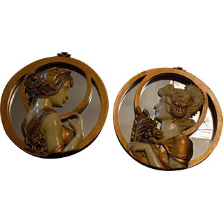 Art Nouveau style Set of Two Mirrored Lady Wall Plaque