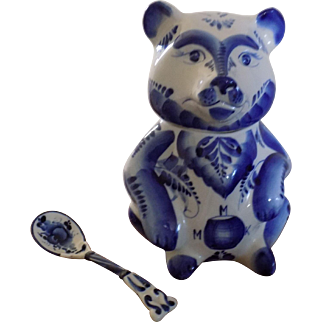 Russian Gzhell Condiment Bear with spoon