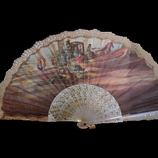 Scenic lace edged fan