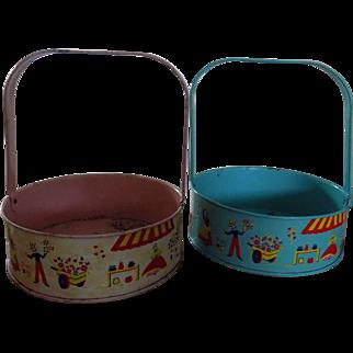 Pair of vintage tin children's easter buckets