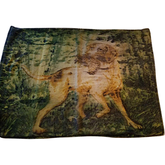 Very Old Carriage/Lap Wool Blanket with Dog