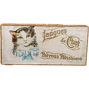 A Charming Antique French Lithograph Box With Kitten