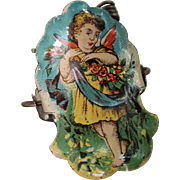 Lithographed German Christmas Tree Angel Candle Clip, circa 1920