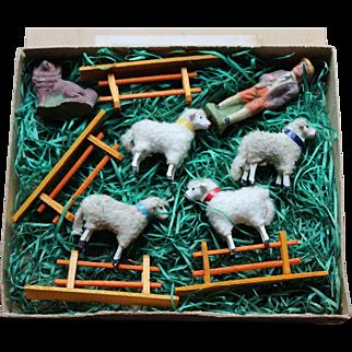 A Boxed German Putz Sheep Set, circa 1910