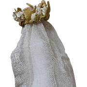 Tiny French Antique Dolls Wedding Crown, Veil and Original Box, circa 1900 For Your Mignonette