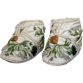 19th Century Silk Embroidered Baby Shoes