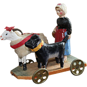 Delightful And Rare Antique Pull-Along Toy Of A Young Girl, Sheep And Dog Going To Market