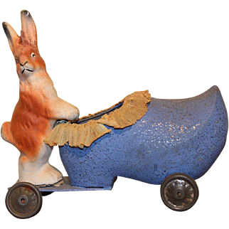 German Easter Candy Container Rabbit and Shoe on Wheels