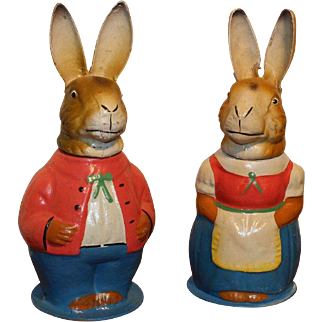 Fantastic Mr And Mrs Rabbit German Candy Containers