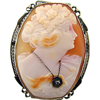 Art Deco Cameo 14k Filigree with Diamond Pendant