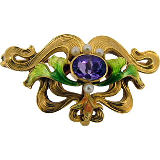 Victorian 14k French Enamel Amethyst Pearl Watch Pin
