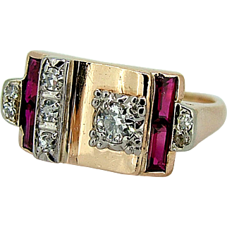 Retro Rose 14k Gold Diamond & Ruby Ring