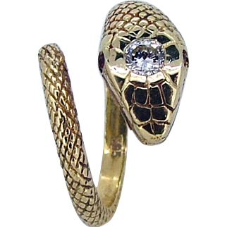 Vintage 14k Diamond Head Snake Ring