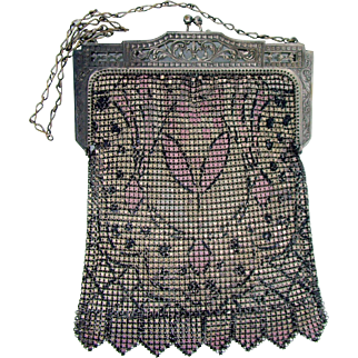 Art Deco Enamel Mesh Purse
