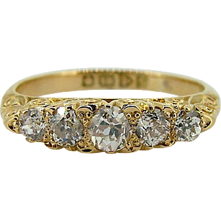 European Cut Five Diamond Band - 18kt Yellow Gold Setting Mid 20th Century