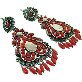 Late (Victorian) Qing Dynasty Coral and Sterling Earrings