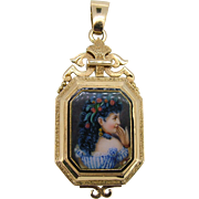 Victorian Hand Painted Lady Locket 14kt Yellow Gold - Large