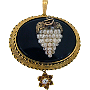 Victorian Seed Pearl Grapes 3D - Onyx Pendant 12kt Yellow Gold