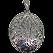 Victorian Large Sterling Hand Engraved Locket