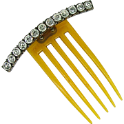 Victorian French Paste Hair Comb - Sterling