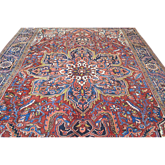 8'8 x 12'1 Exceptional Vintage Genuine Persian Heriz Hand Knotted Wool Area Rug