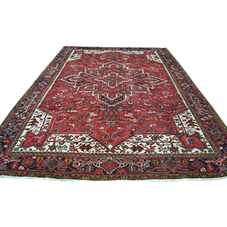 8'2 ft x 11'5 ft Fabulous Vintage Genuine Persian Heriz Hand Knotted Wool Area Carpet Animal Rug Tribal Motifs