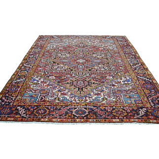 7'8 ft x 9'2 ft Vintage Genuine Persian Heriz Hand Knotted Wool Area Rug