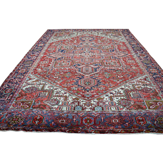 9'3 ft x 13'2 ft Vintage Genuine Persian Heriz Hand Knotted Wool Area Rug