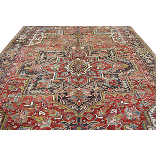 9'7 ft x 12'7 ft Beautiful Vintage Genuine Persian Heriz Hand Knotted Wool Area Rug
