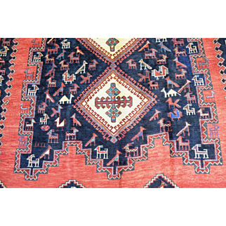 5'1 x 7'6 Amazing Vintage Genuine Persian Tribal Sirjan Afshar Hand Knotted Pictorial Animal Bird Rug